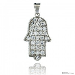 Sterling Silver Hamsa ( Hand of God ) Pendant w/ Cubic Zirconia Stones, 15/16 in. (24 mm) tall