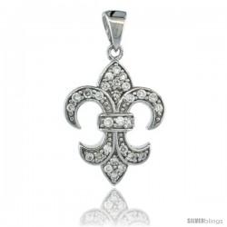 Sterling Silver Fleur de Lis Pendant w/ Cubic Zirconia Stones, 13/16 in. (21 mm) tall