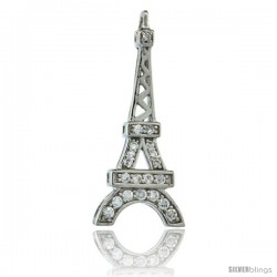 Sterling Silver Eiffel Tower Pendant w/ Cubic Zirconia Stones, 1 1/16 in. (26 mm) tall