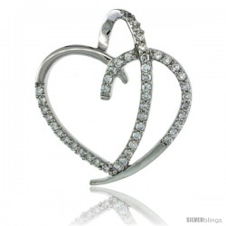 Sterling Silver Fancy Heart Cut Out Pendant w/ Cubic Zirconia Stones, 1 in. (25 mm) tall