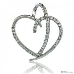 Sterling Silver Fancy Heart Cut Out Pendant w/ Cubic Zirconia Stones, 1 in. (25 mm) tall