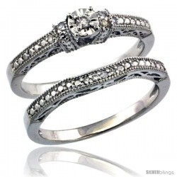 Sterling Silver Diamond Vintage Style 2-Pc. 11-Stone Engagement Ring Set Rhodium Finish -Style Rdia206