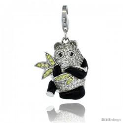 Sterling Silver Panda Bear Charm for Bracelet, 15/16 in. (24 mm) tall, Black Enamel Finish