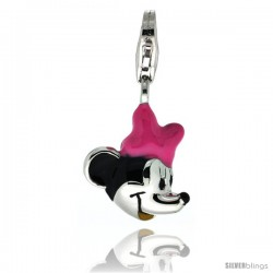 Sterling Silver Lady Mouse Charm for Bracelet, 5/8 in. (16 mm) tall, Enamel Finish
