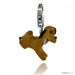 Sterling Silver Puppy Dog Charm for Bracelet, 1/2 in. (12.5 mm) tall, Enamel Finish
