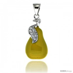Sterling Silver Pear Charm for Bracelet, 15/16 in. (24 mm) tall, Enamel Finish Fruit