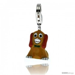 Sterling Silver Sitting Puppy Dog Charm for Bracelet, 5/8 in. (16 mm) tall, Orange Enamel Finish