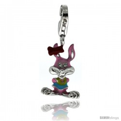 Sterling Silver Multi-Color Lady Bunny Rabbit Charm for Bracelet, 3/4 in. (19 mm) tall, Enamel Finish