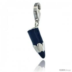 Sterling Silver Pen Pencil Charm for Bracelet, 3/4 in. (20 mm) tall, Enamel Finish