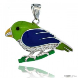 Sterling Silver Parrot Bird Pendant w/ Cubic Zirconia Stones, 1 in. (26 mm) wide, Enamel Finish