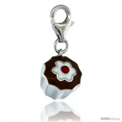 Sterling Silver Chocolate Cupcake Charm for Bracelet, 1/2 in. (13 mm) tall, Enamel Finish
