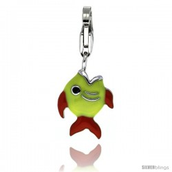 Sterling Silver Angel Fish Charm for Bracelet, 11/16 in. (17 mm) tall, Enamel Finish
