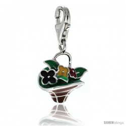 Sterling Silver Multi-Color Flower Basket Charm for Bracelet, 11/16 in. (17.5 mm) tall, Enamel Finish