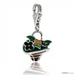 Sterling Silver Multi-Color Flower Basket Charm for Bracelet, 11/16 in. (17.5 mm) tall, Enamel Finish