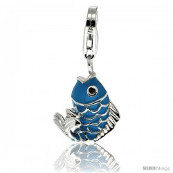 Sterling Silver Fish Charm for Bracelet, 11/16 in. (17 mm) tall, Enamel Finish