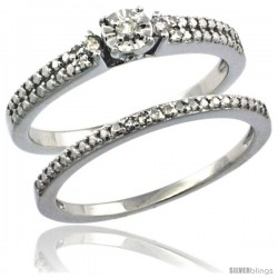 Sterling Silver Diamond Vintage Style 2-Pc. 11-Stone Engagement Ring Set Rhodium Finish -Style Rdia207