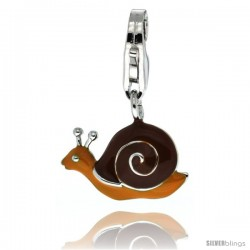 Sterling Silver Snail Shell Charm for Bracelet, 9/16 in. (15 mm) wide, Brown Enamel Finish