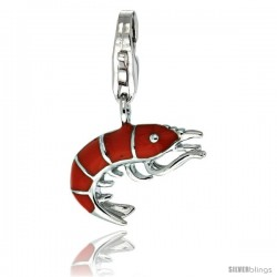Sterling Silver Shrimp Charm for Bracelet, 5/8 in. (16 mm) tall, Enamel Finish Seafood