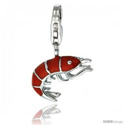 Sterling Silver Shrimp Charm for Bracelet, 5/8 in. (16 mm) tall, Enamel Finish Seafood