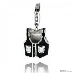 Sterling Silver Vest Charm for Bracelet, 9/16 in. (15 mm) tall, Enamel Finish Sleeveless Top