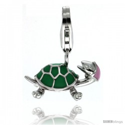 Sterling Silver Turtle Charm for Bracelet, 11/16 in. (17 mm) wide, Enamel Finish