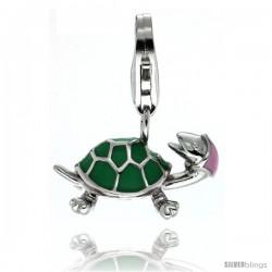 Sterling Silver Turtle Charm for Bracelet, 11/16 in. (17 mm) wide, Enamel Finish