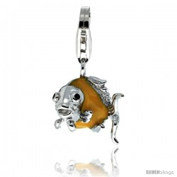 Sterling Silver Angel Fish Charm for Bracelet, 1/2 in. (13 mm) tall, Enamel Finish