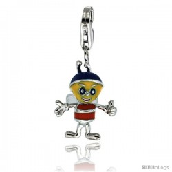 Sterling Silver Bumble Bee Charm for Bracelet, 13/16 in. (21 mm) tall, Enamel Finish