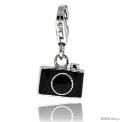 Sterling Silver Still Camera Charm for Bracelet, 7/16 in. (11 mm) wide, Black Enamel Finish