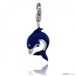 Sterling Silver Bottlenose Dolphin Charm for Bracelet, 3/4 in. (19 mm) tall, Blue Enamel Finish