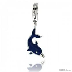 Sterling Silver Bottlenose Dolphin Charm for Bracelet, 13/16 in. (21 mm) tall, Blue Enamel Finish