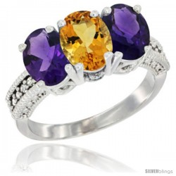 14K White Gold Natural Citrine & Amethyst Ring 3-Stone 7x5 mm Oval Diamond Accent