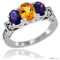 14K White Gold Natural Citrine & Amethyst Ring 3-Stone Oval with Diamond Accent