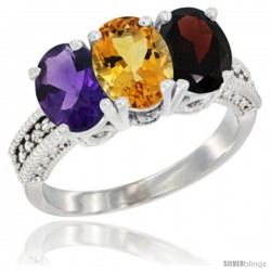 14K White Gold Natural Amethyst, Citrine & Garnet Ring 3-Stone 7x5 mm Oval Diamond Accent
