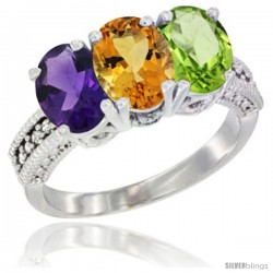 14K White Gold Natural Amethyst, Citrine & Peridot Ring 3-Stone 7x5 mm Oval Diamond Accent