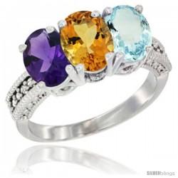 14K White Gold Natural Amethyst, Citrine & Aquamarine Ring 3-Stone 7x5 mm Oval Diamond Accent