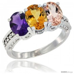 14K White Gold Natural Amethyst, Citrine & Morganite Ring 3-Stone 7x5 mm Oval Diamond Accent