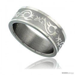 Surgical Steel 8mm Tribal Pattern Ring Wedding Band Matte finish