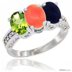 10K White Gold Natural Peridot, Coral & Lapis Ring 3-Stone Oval 7x5 mm Diamond Accent