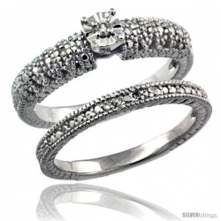 Sterling Silver Diamond Vintage Style 2-Pc. 9-Stone Engagement Ring Set Rhodium Finish -Style Rdia208