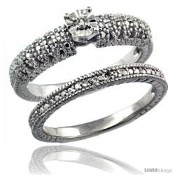 Sterling Silver Diamond Vintage Style 2-Pc. 9-Stone Engagement Ring Set Rhodium Finish -Style Rdia208