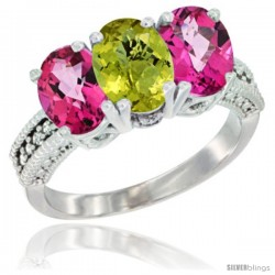 10K White Gold Natural Lemon Quartz & Pink Topaz Sides Ring 3-Stone Oval 7x5 mm Diamond Accent