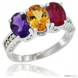 14K White Gold Natural Amethyst, Citrine & Ruby Ring 3-Stone 7x5 mm Oval Diamond Accent