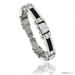 Gent's Black Stainless Steel Cable Bracelet, 1/2 in wide, 9 in long