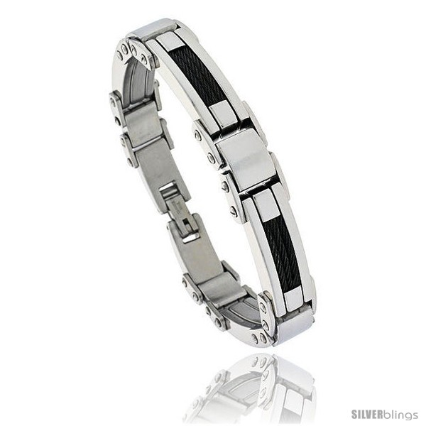 https://www.silverblings.com/807-thickbox_default/gents-black-stainless-steel-cable-bracelet-1-2-in-wide-9-in-long.jpg
