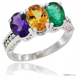 14K White Gold Natural Amethyst, Citrine & Emerald Ring 3-Stone 7x5 mm Oval Diamond Accent