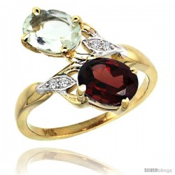 14k Gold ( 8x6 mm ) Double Stone Engagement Green Amethyst & Garnet Ring w/ 0.04 Carat Brilliant Cut Diamonds & 2.34 Carats