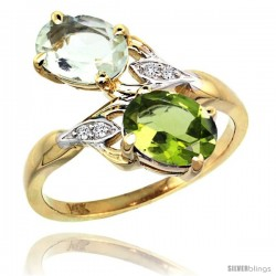 14k Gold ( 8x6 mm ) Double Stone Engagement Green Amethyst & Peridot Ring w/ 0.04 Carat Brilliant Cut Diamonds & 2.34 Carats