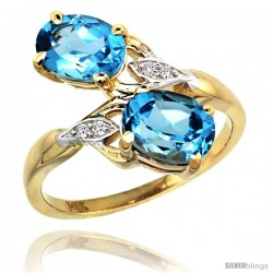 14k Gold ( 8x6 mm ) Double Stone Engagement Swiss Blue Topaz Ring w/ 0.04 Carat Brilliant Cut Diamonds & 2.34 Carats Oval Cut