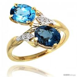 14k Gold ( 8x6 mm ) Double Stone Engagement Swiss & London Blue Topaz Ring w/ 0.04 Carat Brilliant Cut Diamonds & 2.34 Carats
